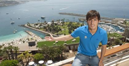 Local lad David Silva, shows off his homeland
